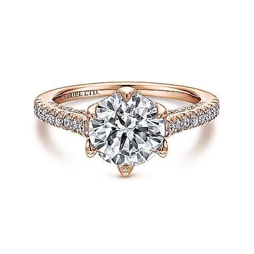 Gabriel - Adelaide 18k Rose Gold Round Halo Engagement Ring