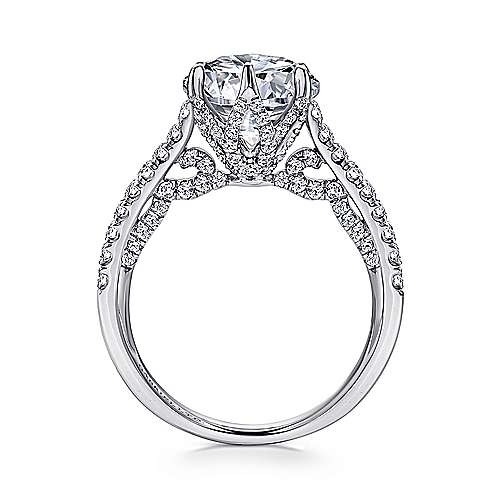 Adelaide 18k White Gold Round Straight Engagement Ring angle 2