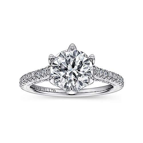 Adelaide 18k White Gold Round Straight Engagement Ring