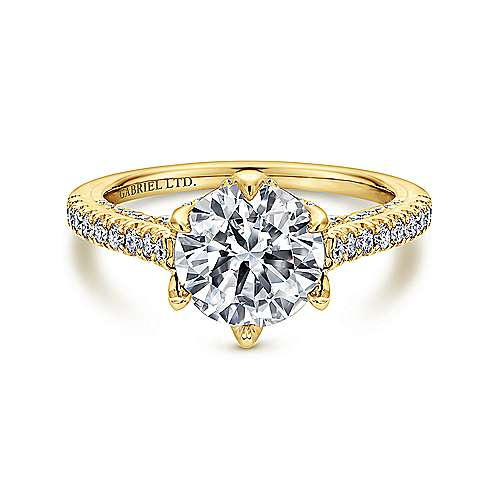 Gabriel - Adelaide 18k Yellow Gold Round Straight Engagement Ring