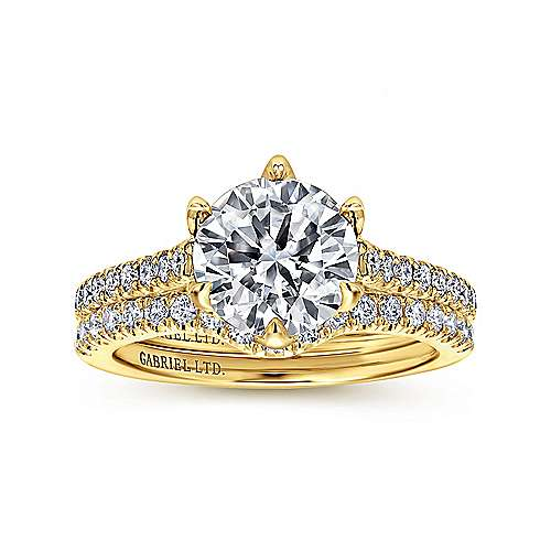 Adelaide 18k Yellow Gold Round Straight Engagement Ring