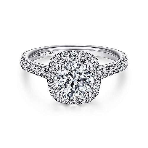 Gabriel - Adele 18k White Gold Round Halo Engagement Ring
