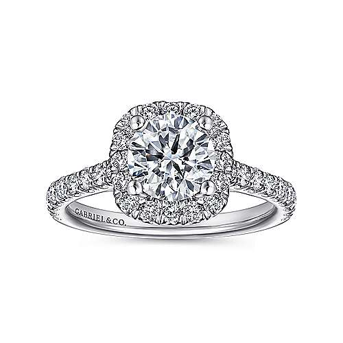 Adele 18k White Gold Round Halo Engagement Ring angle 5