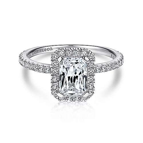 Gabriel - Adelfa 18k White Gold Emerald Cut Halo Engagement Ring