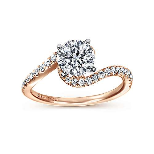 Adina 14k White And Rose Gold Round Bypass Engagement Ring