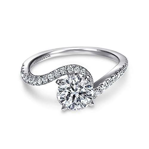 Adina 14k White Gold Round Bypass Engagement Ring angle 1