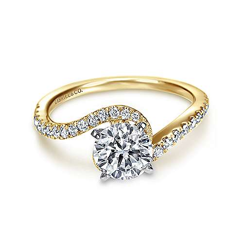 Gabriel - Adina 14k Yellow And White Gold Round Bypass Engagement Ring