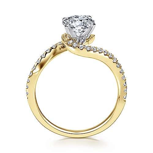 Adina 14k Yellow And White Gold Round Bypass Engagement Ring angle 2