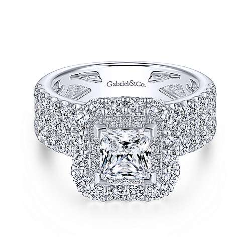 Adley 18k White Gold Princess Cut Double Halo Engagement Ring angle 1