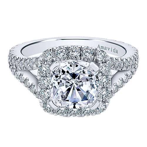 Gabriel - Admire 18k White Gold Cushion Cut Halo Engagement Ring