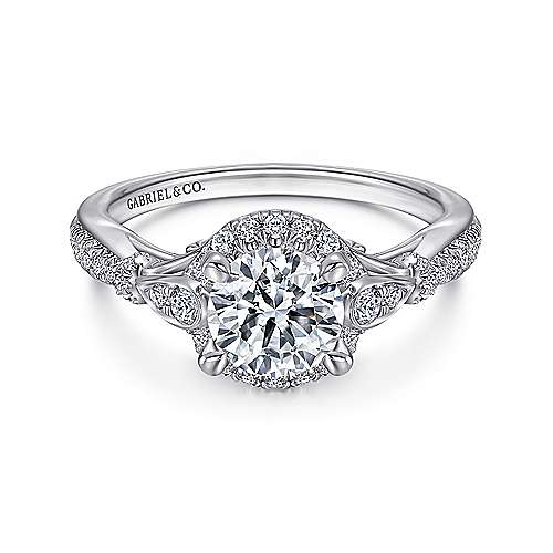 Gabriel - Adria 18k White Gold Round Halo Engagement Ring