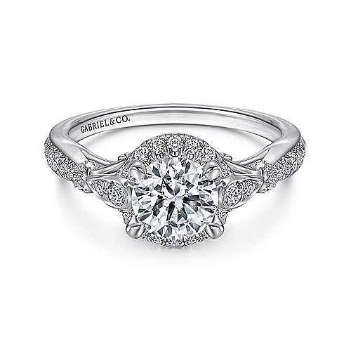 Gabriel - Adria Platinum Round Halo Engagement Ring