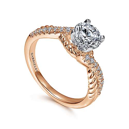 Adrianna 14k White And Rose Gold Round Twisted Engagement Ring angle 3