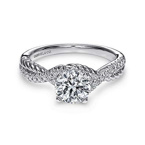 Gabriel - Adrianna 14k White Gold Round Twisted Engagement Ring