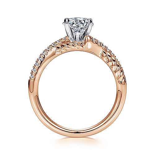Adrianna 14k White/rose Gold Round Twisted Engagement Ring angle 2
