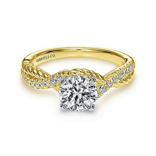 Adrianna 14k Yellow And White Gold Round Twisted Engagement Ring angle 1