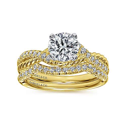Adrianna 14k Yellow And White Gold Round Twisted Engagement Ring angle 4
