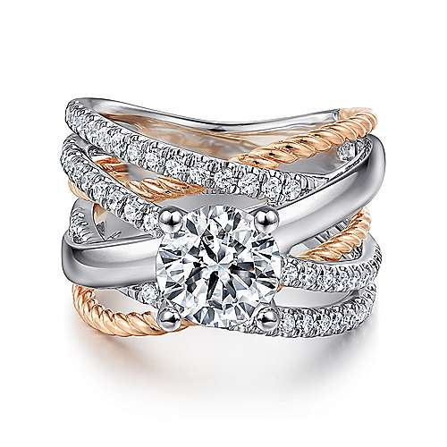Affection 14k White And Rose Gold Round Twisted Engagement Ring