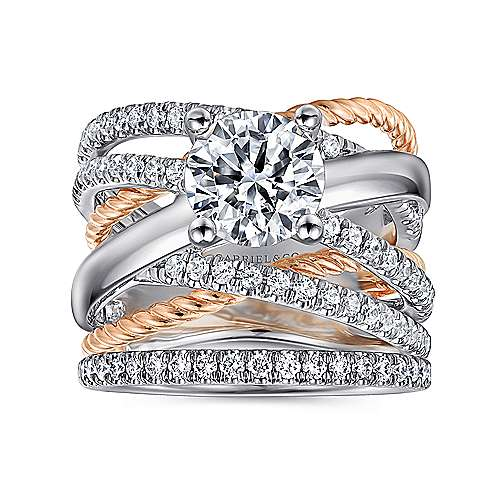 Affection 14k White And Rose Gold Round Twisted Engagement Ring angle 4
