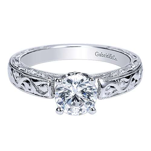 Gabriel - Agnes 14k White Gold Round Straight Engagement Ring
