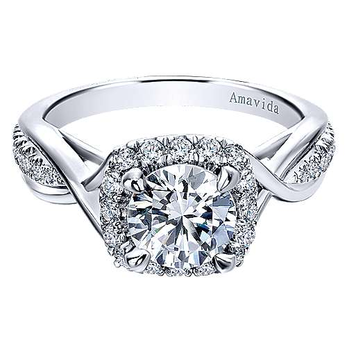 Gabriel - Aguilena 18k White Gold Round Halo Engagement Ring