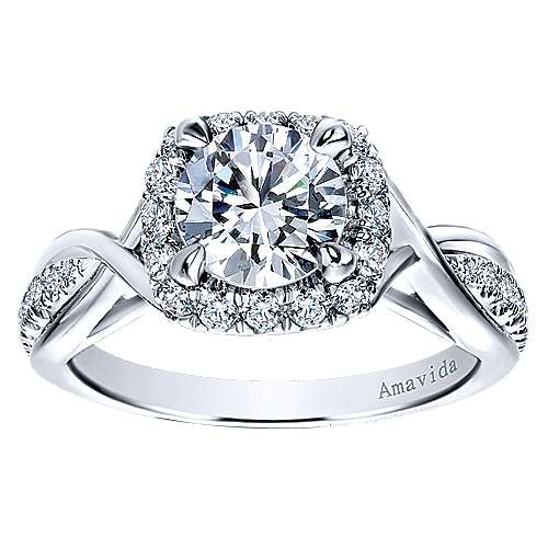 Aguilena 18k White Gold Round Halo Engagement Ring angle 5