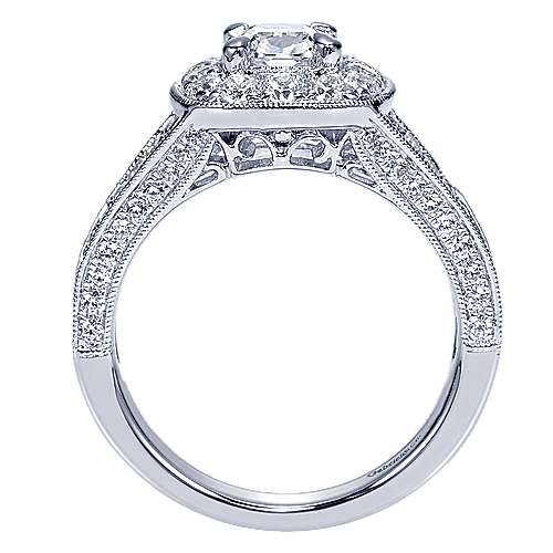 Aida 14k White Gold Cushion Cut Halo Engagement Ring angle 2