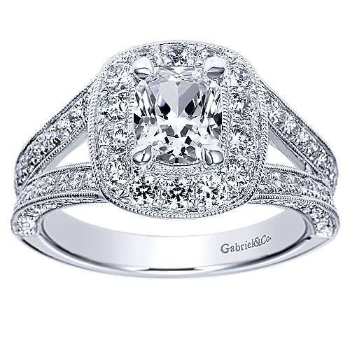 Aida 14k White Gold Cushion Cut Halo Engagement Ring