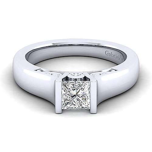 Gabriel - Akira 14k White Gold Princess Cut Solitaire Engagement Ring