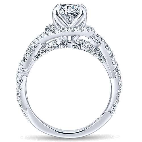 Alana 14k White Gold Round Halo Engagement Ring angle 2