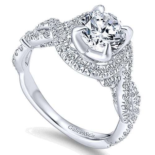 Alana 14k White Gold Round Halo Engagement Ring angle 3