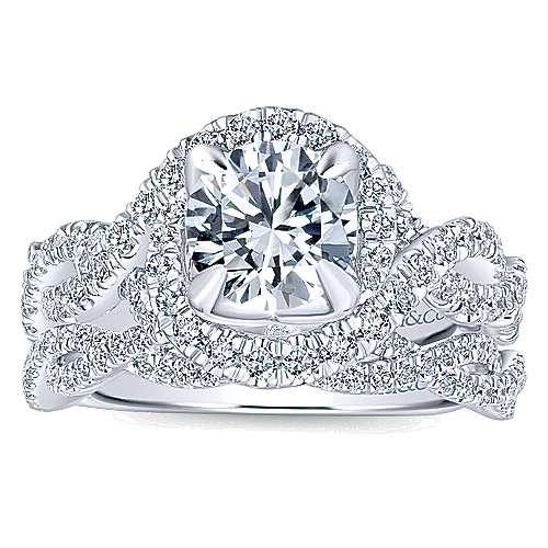 Alana 14k White Gold Round Halo Engagement Ring angle 4