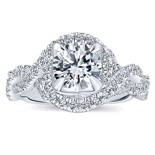 Alana 14k White Gold Round Halo Engagement Ring angle 5