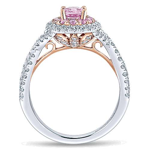 Alba 14k White And Rose Gold Oval Double Halo Engagement Ring angle 2