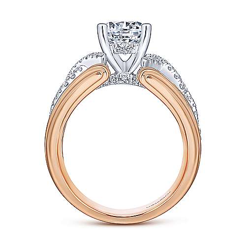 Albany 14k White And Rose Gold Round Twisted Engagement Ring angle 2