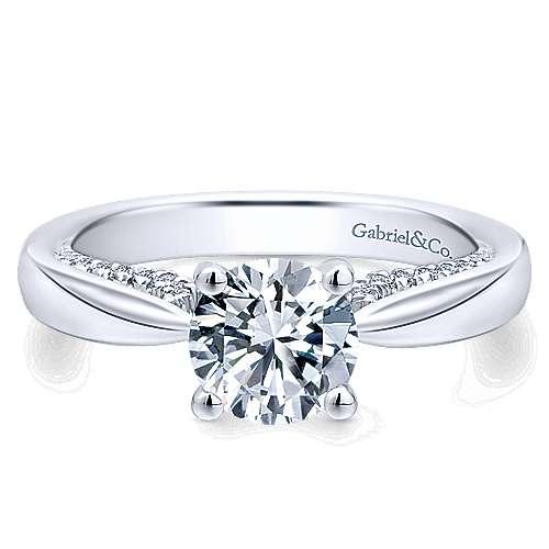 Gabriel - Alder 14k White Gold Round Straight Engagement Ring