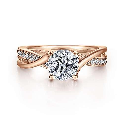 Gabriel - Aleesa 14k Pink Gold Round Bypass Engagement Ring