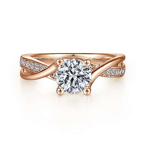 Gabriel - Aleesa 14k Rose Gold Round Bypass Engagement Ring