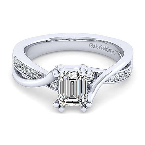 Gabriel - Aleesa 14k White Gold Emerald Cut Bypass Engagement Ring