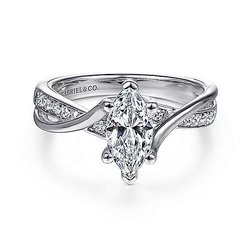 Gabriel - Aleesa 14k White Gold Marquise  Bypass Engagement Ring