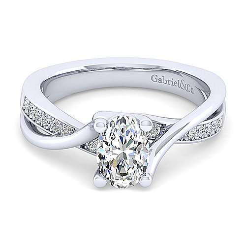 Gabriel - Aleesa 14k White Gold Oval Bypass Engagement Ring