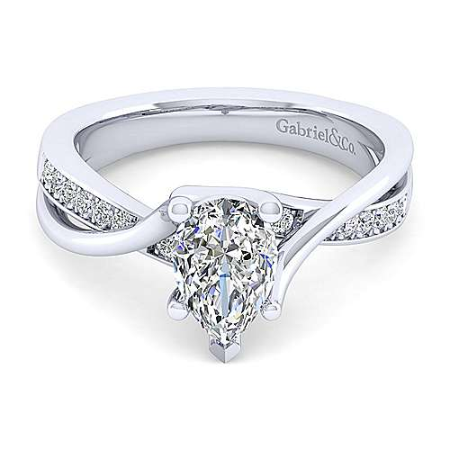 Gabriel - Aleesa 14k White Gold Pear Shape Bypass Engagement Ring