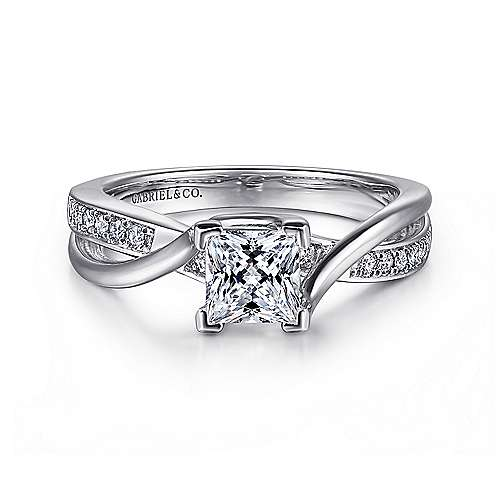 Gabriel - Aleesa 14k White Gold Princess Cut Twisted Engagement Ring