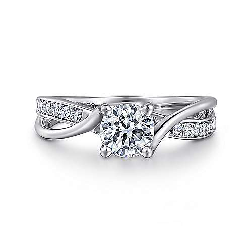 Aleesa 14k White Gold Round Twisted Engagement Ring