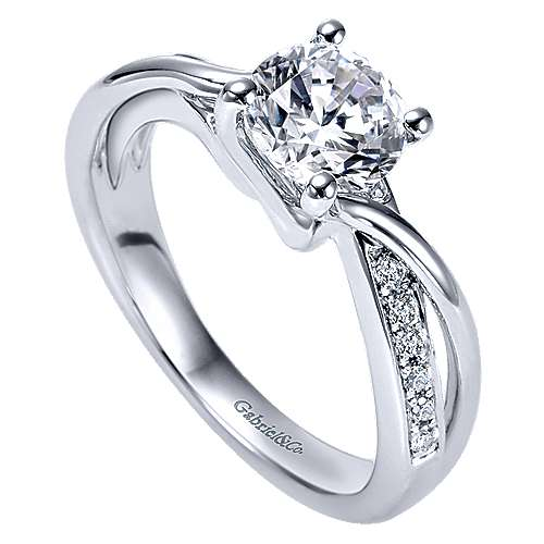 Aleesa 14k White Gold Round Twisted Engagement Ring angle 3