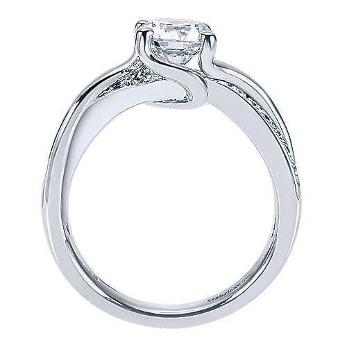 Aleesa 14k White Gold Round Twisted Engagement Ring angle 2