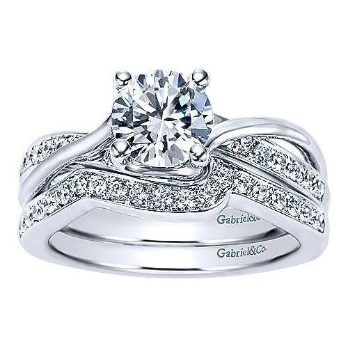 Aleesa 14k White Gold Round Twisted Engagement Ring angle 4
