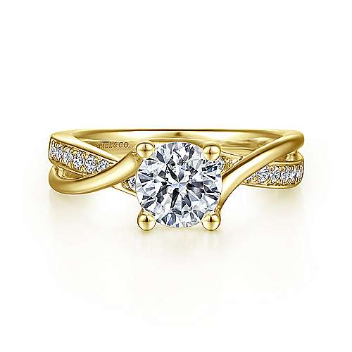 Aleesa 14k Yellow Gold Round Bypass Engagement Ring angle 1