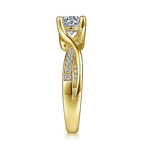Aleesa 14k Yellow Gold Round Bypass Engagement Ring angle 5