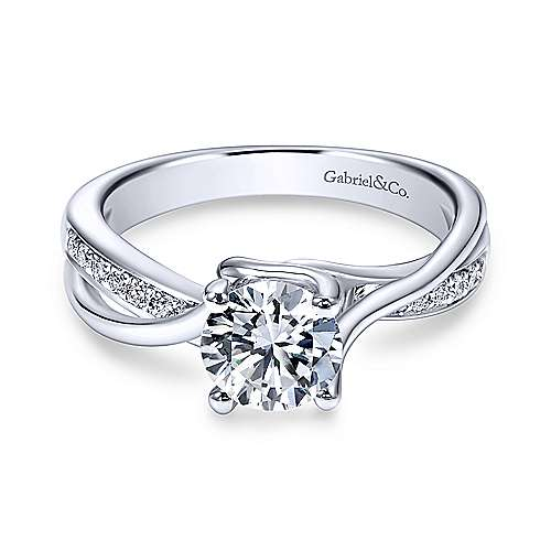 Gabriel - Aleesa 18k White Gold Round Bypass Engagement Ring